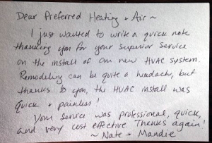 Preferred Heating & Air, Inc. Testimonial